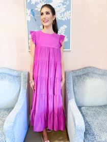 Flutter Sleeve Tiered Dress- Orchid