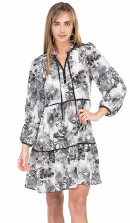 Black & White Floral Tiered Long Sleeve Dress