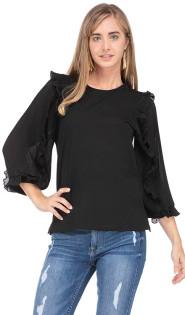 Pleated Sheer Sleeve Top- Black