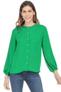 Button Down Swing Blouse- Emerald