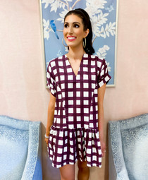 Lucy Dress- Maroon Check
