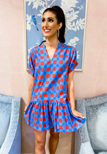 Lucy Dress- Red & Blue Check