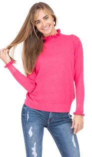 Ruffle Turtleneck Sweater- Fuchsia