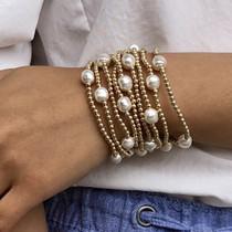 Admire Gold 3mm Bead Bracelet- Pearl
