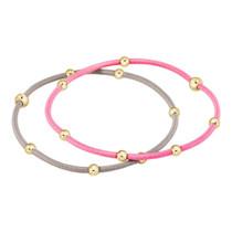 Essential Beaded Hair Tie Bracelet Set- Bubblegum