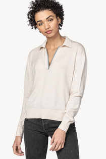 Easy Polo Collar Pullover Sweater- Oat