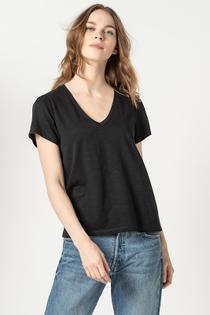 Short Sleeve V-Neck Top- Black