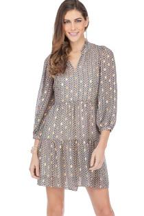 Long Sleeve Tiered Dress- Teal/Pink/Tan Chevron