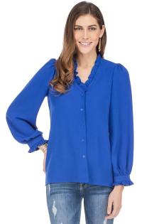 Ruffle V-Neck Button Up Blouse- Royal Blue