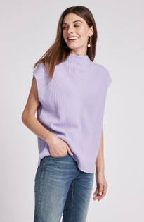 Cashmere Funnel Cap Sleeve Top- Thistle