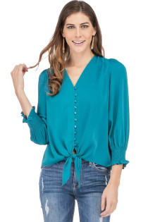 Samantha Tie Front Top- Peacock