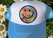 Light Blue Smiley Trucker Hat