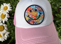 Light Pink Smiley Trucker Hat