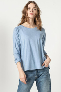 Long Sleeve Pleat Back Top- Slate Blue