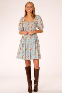 Bridget Mini Dress- Blue Floral Vine