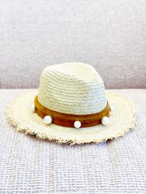 Mimi Raffia Hat- Pearl Suede