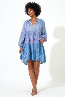 Balloon Sleeve Short Dress- Blue Antibes
