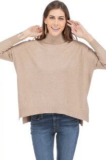 Tracy Mock Neck Pullover- Toast