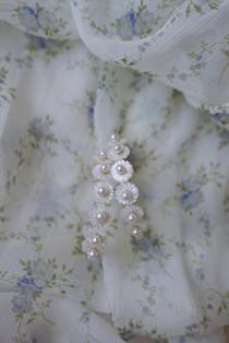Mother of Pearl Wildflower Hoop Earrings