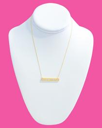 Diamond Bar Necklace- Clear