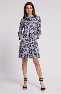 Kim Jacquard Cowl Neck Dress- Thistle Leopard