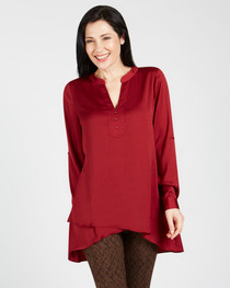 Carrie Button Front Air Flow Top- Maroon