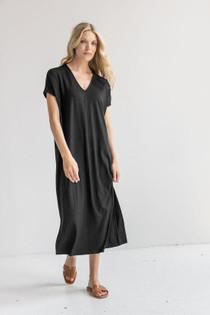 Double V-Neck Maxi Dress- Black