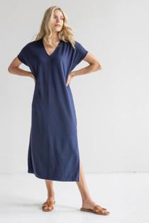 Double V-Neck Maxi Dress- Eclipse