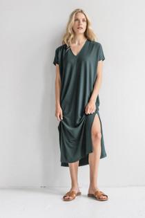 Double V-Neck Maxi Dress- Mineral