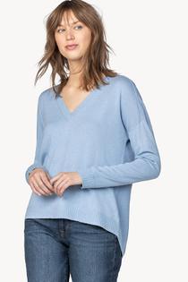 Long Sleeve Snap Back V-Neck Sweater- Bluebell