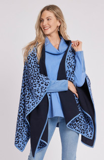 Double Sided Animal Print Cape- Azure