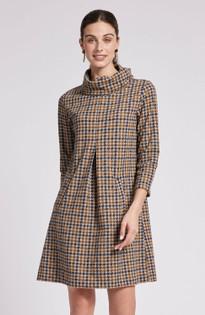Kim Jacquard Dress- Houndstooth