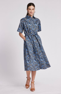 Trina Cotton Midi Dress- Ripple Multi