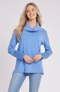 Cotton Cashmere Cowl Neck Sweater- Azure