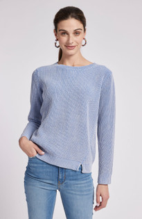 Mineral Wash Button Back Sweater- Azure