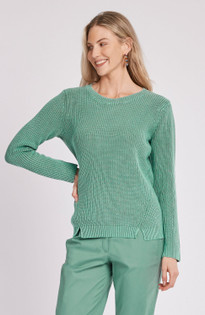 Mineral Wash Button Back Sweater- Patina
