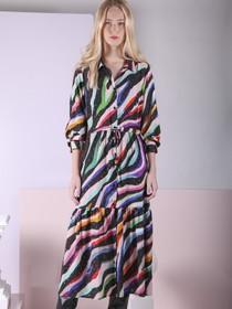 Eve Rainbow Zebra Print Midi Dress