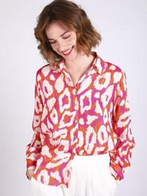 Gaby Pink & Orange Leopard Print Button Down Blouse