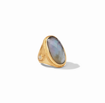 Cassis Statement Ring- Gold Iridescent Slate Blue with Pearl Accents