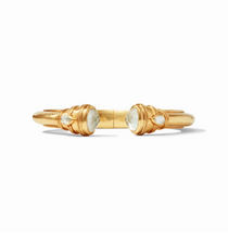 Cassis Demi Hinge Gold Cuff- Iridescent Clear Crystal