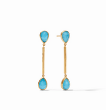 Cassis Duster Earring- Gold Iridescent Pacific Blue