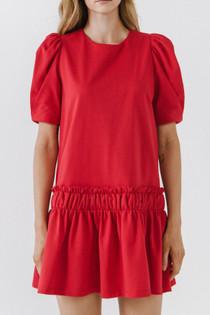 Gemma Puff Sleeve Dress- Red