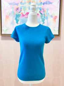 Cashmere Short Sleeve Top- Teal