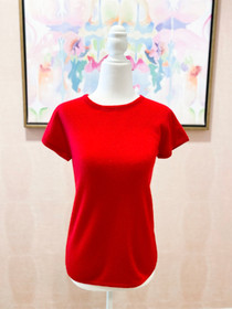 Cashmere Short Sleeve Top- Red