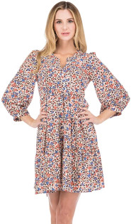 Floral Cheetah Tiered Dress