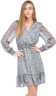 Charlie Cinched Waist Dress- Blue Floral