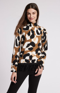 Cotton Cashmere Paw Print Fringe Sweater