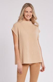 Cashmere Cap Sleeve Sweater- Latte