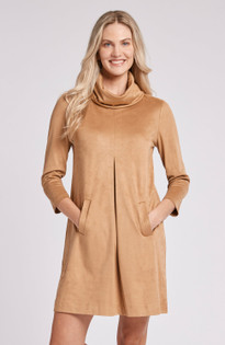 Kim Faux Suede Dress- Bronze