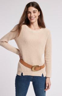 Mineral Wash Shaker Sweater- Chamois